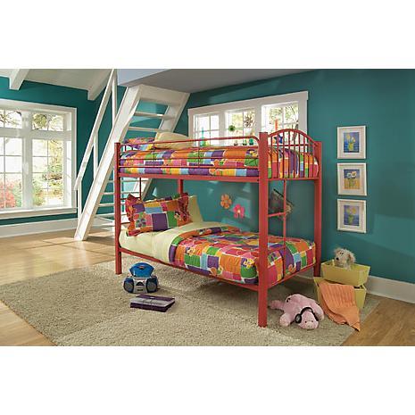 red twin metal bunk bed furniture. Black Bedroom Furniture Sets. Home Design Ideas