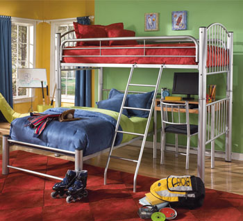 Conner Twin Twin Metal Bunk Bed W Desk Furniture Times Com