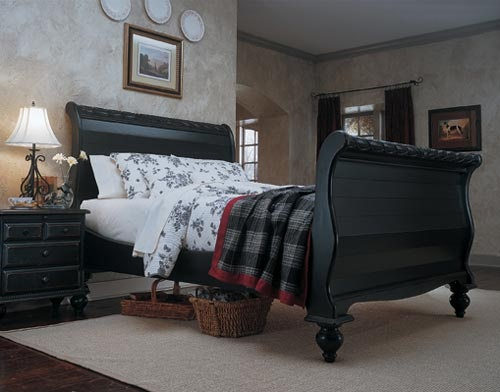 Lake Cottage Black Sleigh Bed Furniture Times Com