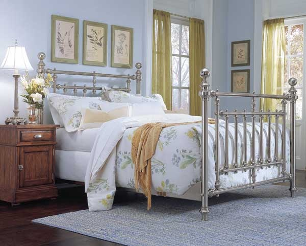 Brushed Nickel King Size Headboard: Today's Antiques Brushed Nickel Bed